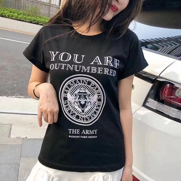 Balmain Großhandel T-Shirt Designer Bekleidung Herren Slim Straight Herren Damen Black White Print Paris New Fashion