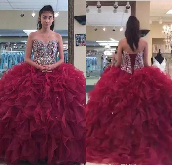 Burgundy Sweetheart Organza Ball Gown Quinceanera Dresses Beaded Rhinestones Layered Ruffles Sweep Train Princess Prom Dresses With lace UP