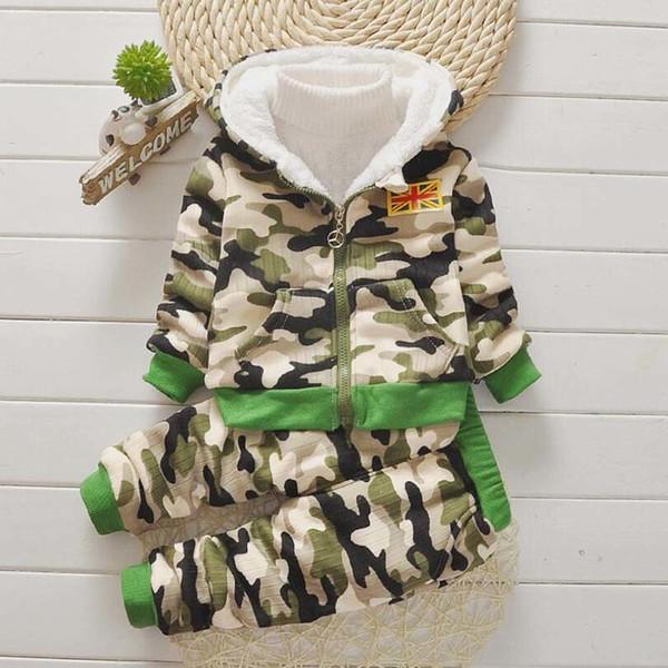 good qulaity winter baby boy clothes sets 2019 new fashion camouflage jacket+pant 2pcs suits toddler boy kids clothes sets tracksuit