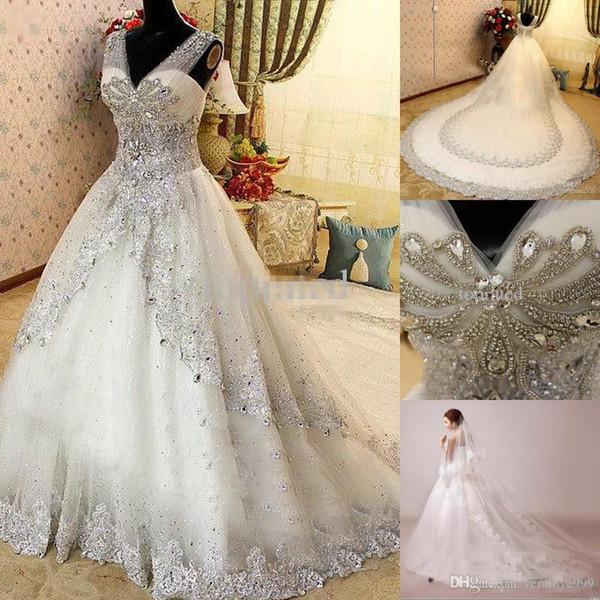 Luxus Kristall Land Brautkleider Sexy V-ausschnitt Sheer Strap Backless Sleeveless Brautkleider Kathedrale Zug Brautkleider Plus Größe