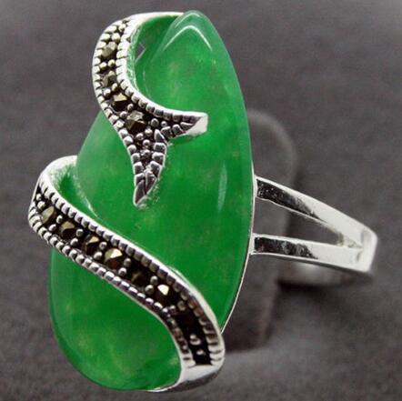 10mm X 20mm green jade marcasite Sterling silver ring> wholesale quartz stone crystal