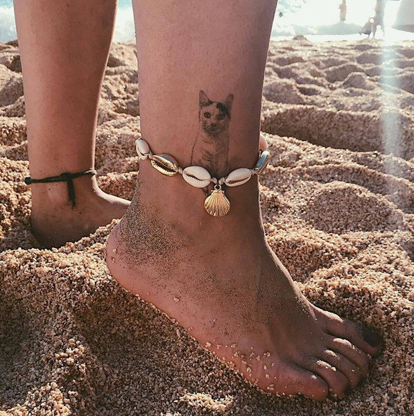 New European and American Beach Wind Natural Shell Anklet Sexy Gold-plated Shell Pendant Cotton Thread Foot Ornaments