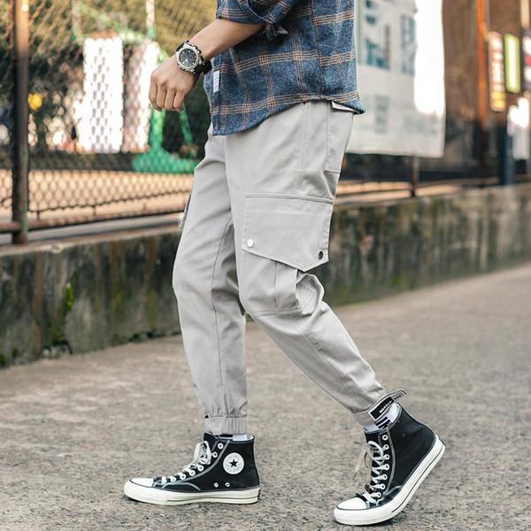 Printemps Harem Joggers Hommes Poches latérales Streetwear Longueur cheville Hommes Pantalons Pantalon de survêtement en coton cargo Pantalons de jogging pour hommes