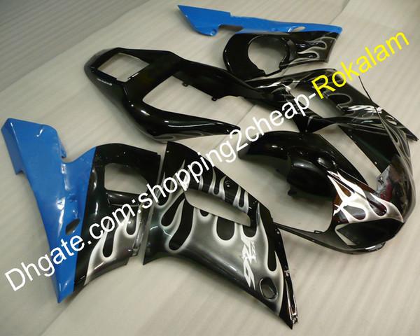 R6 Komplettes Verkleidungsset für Yamaha YZF600 R6 YZF-R6 1998 1999 2000 2001 2002 YZF 600 ABS Weißer Flammenverkleidungssatz (Spritzguss)