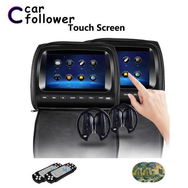 2PCS 9 pouces DVD voiture écran LCD Têtière écran tactile Fermeture éclair couverture avec IR / FM / USB / SD / Président / Jeu MP5