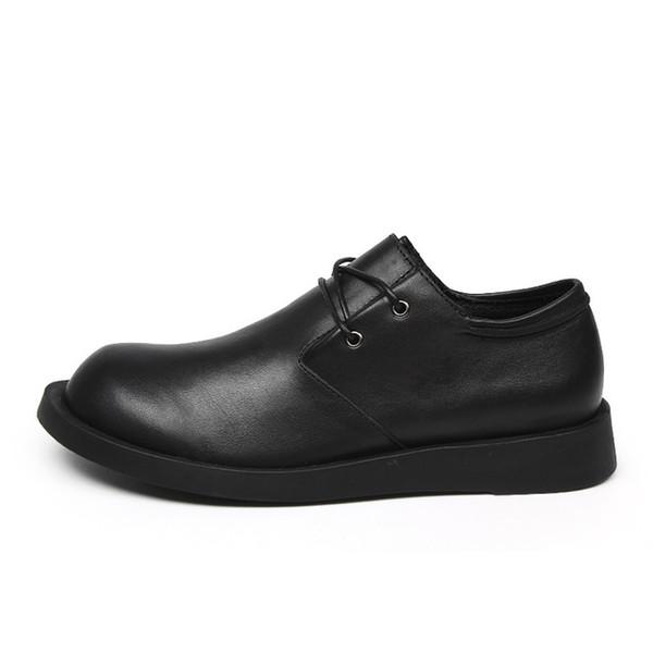 Solid Genuine Leather Men's Flats Shoes Gentleman Dress Shoes Lace Up Square Toe Design Business Men Male Footwear Z342