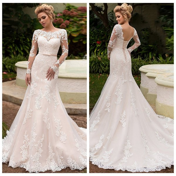 Romantic Boat Neck Lace Mermaid Wedding Dresses with Lace-up Back Custom Made Champagne Bridal Gown with Long Sleeves