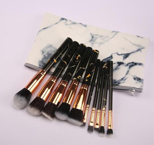 10pcs Makeup Brushes Set Three colors marble pattern Makeup brush set Healthy chemical fiber material Skin friendly and comfortable.