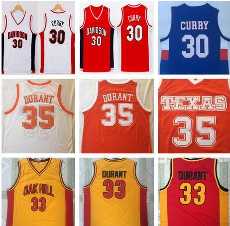 NCAA Davidson Wildcat #Stephen 30 Curry #35 Kevin Durant #33 Texas Longhorns College Men's Basketball Jerseys Oak Hill High School Shirt