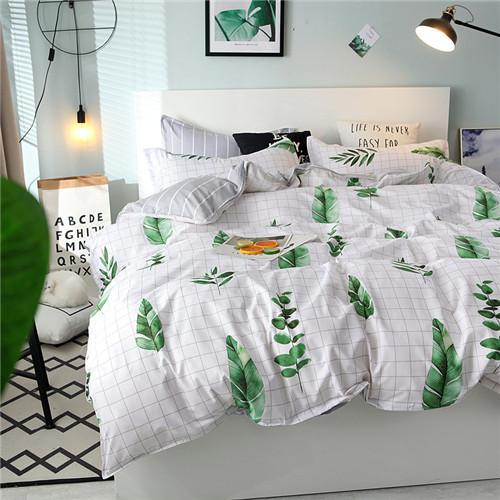 Different Materials Bedding Bedding Suit New Arrive Brown Letter Bed Cover Suit 4PCS Full Flower 4 Color Bedding Supplies free shipping