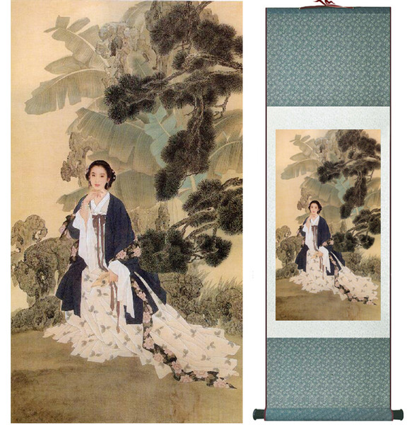 Traditional Chinese Pretty Girls Painting Home Office Decoration Beautifull Women Painting040604