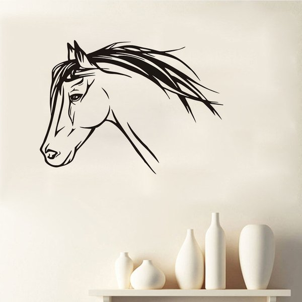 DCTOP Nice Horse Head Wall Stickers For Kids Rooms Wall Decor Silhouette Animals Wall Art Decals Home Decoration Accessories