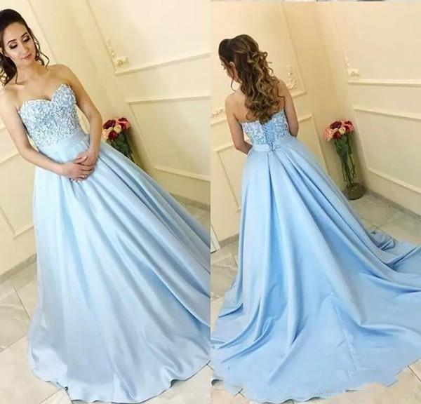 2019 Blau Ballkleider Lange A Line Sweet Heart Sweep Zug Abendkleider Mit Applique Backless Party Kleider
