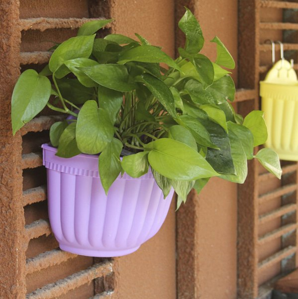 Wholesale Resin Plastic Flower Hanging Pots Spangled Colored Hanging Flower Pots Hanging Flower Pots