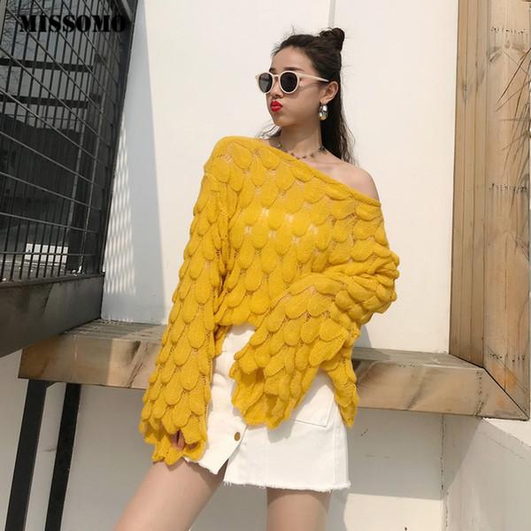 MISSOMO camisola de malha Mulheres alargamento manga solta Jumper escavar Camisolas Outono mulheres puxar pullover Blusas femininas sweters 11