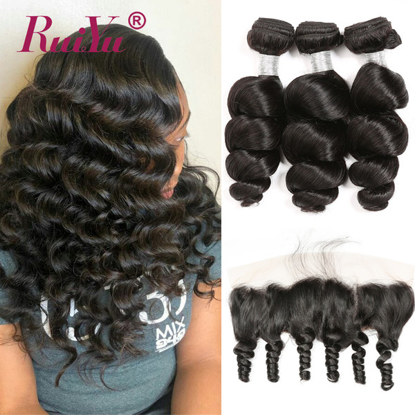 Loose Wave Bundle With Frontal Human Hair 3 Bundle With Lace Frontal Closure Remy Brazilian Hair Weave Bundle and Frontal Closure Ruiyu