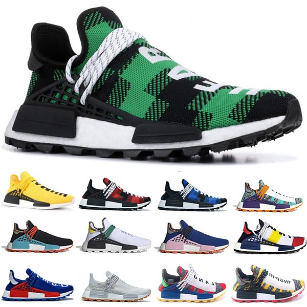 new style human race hu trail pw running shoes pharrell williams cream nerd know soul women mens trainers sports sneakers 36-45