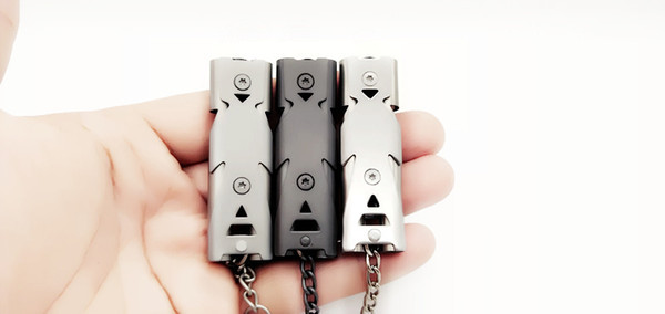 Silver & black Survival Double tube whistle blown outdoor for help stainless steel high-frequency earthquake rescue loud whistle