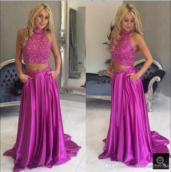 2019 new arrival Fuchsia Two Pieces A-line Prom Dresses High Neck Beaded open back sexy prom gowns Vestidos De Fiesta Pageant dress