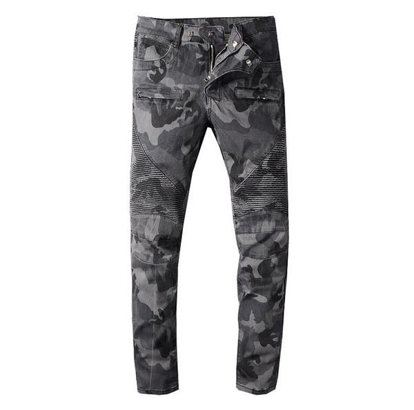 2020ss Jeans Mens Slim Fit rasgado Buracos Joelho Jeans Men Hi-Street Mens Distressed Denim Joggers homens destruídos lavou a calça jeans elásticos BEM