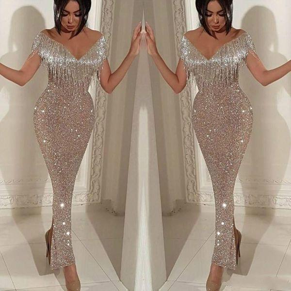 Yousef Aljasmi 2019 robes de soirée paillettes brillantes robes de bal sirène élégante épaule gland trompette longueur de la cheville Split Cocktail