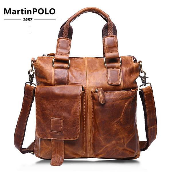 2019 Maletín de cuero genuino Male Business Business Laptop Bags Hombre Bolsos de oficina Messenger Shoulder Crossbody Bag Male B259