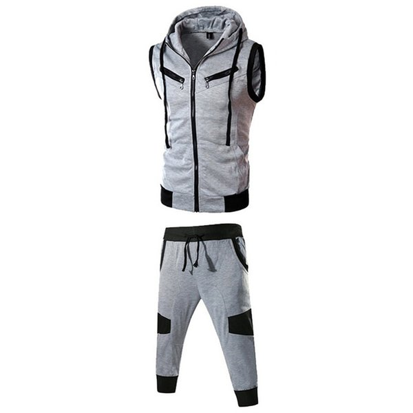 good quality Tracksuit Men Set Jogging Clothes Hooded Vest Self-cultivation Multiple Zippers College Style Top Pants Sport Suit Male
