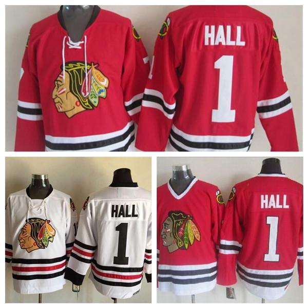 Vintage Chicago Blackhawks Glenn Hall Jersey Mens Classic 100% Embroidery  1  Glenn Hall Hockey e6c9e0749