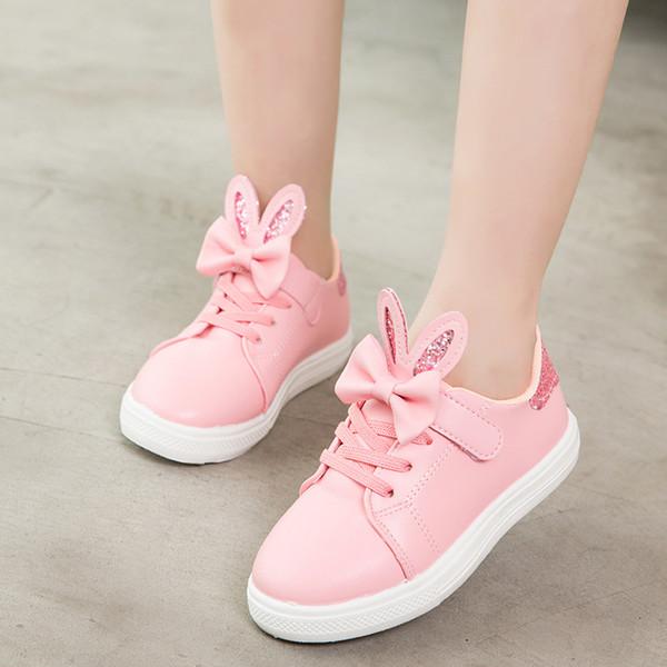 Herbst-Kaninchen-Ohr-Schuhe für Mädchen Tenis Enfant scherzt die netten Turnschuh-Mädchen-Rosa-Freizeitschuhe