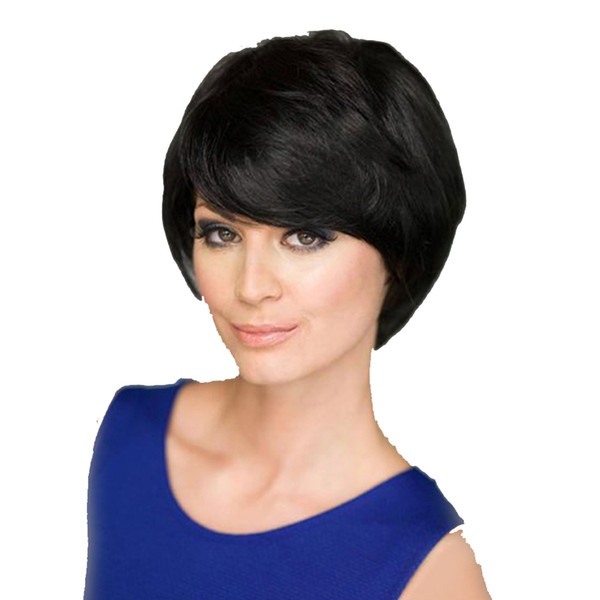 2019 Euro-American Hot selling black color short curly Oblique bangs wigs wigs synthetic hair for women