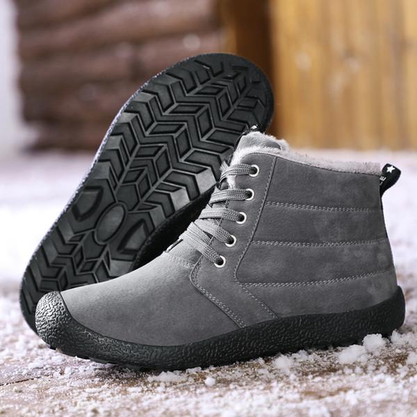 Artı Boyut Ayakkabı Erkekler Yürüyüş Botları Kış Açık Kar Boots Weatproof Yürüyüş Dağ Ayakkabı Lace Up Erkekler Kürk Sneakers Isınma