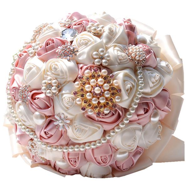 Rose Bridal Bouquet Wedding Bouquet Spilla di perle di cristallo fiori di seta