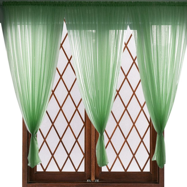 Voile Window Curtain Extra Long Sheer Drape Panel Solid Color Rod Pocket Curtain for Living Room