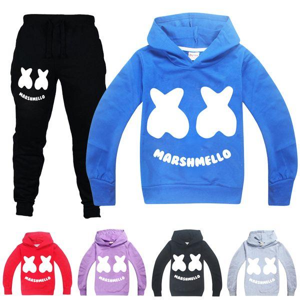 Boys Girls Marshmello Kids Hoodies Sweatshirt Spring Fall Cosplay Costumes Set