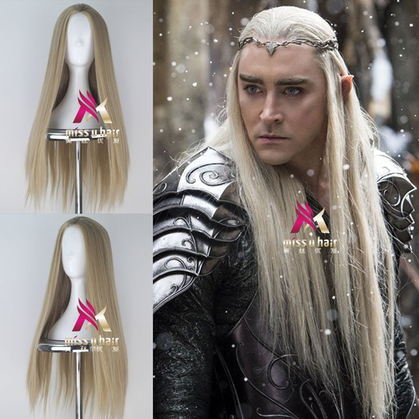 The Hobbit Thranduil Men Long Straight Movie Anime Cosplay Halloween Wig