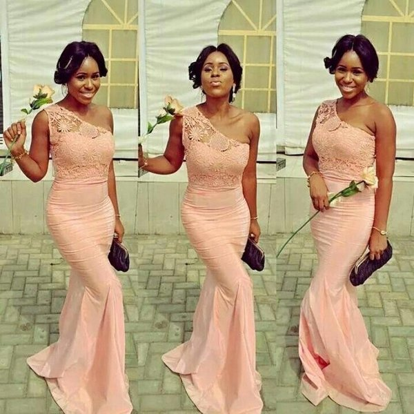 Wholesale - One Shoulder Mermaid Evening Dresses Lace Applique Floor Length Prom Evening Dresses Formal Party Gowns