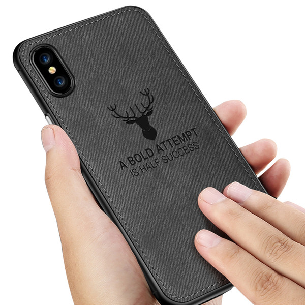 for iphone 8 plus case deer pattern embossed tpu soft edge for iphone xs max case cloth texture designer phone case