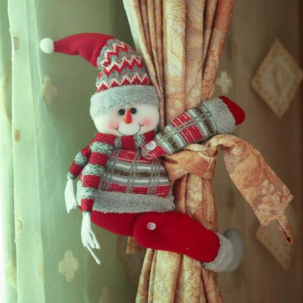 Christmas Decorations Santa Clause Deer Curtain Buckle Holder Clip Tieback Display Window Living Room Xmas Gifts 3 Styles XD20221