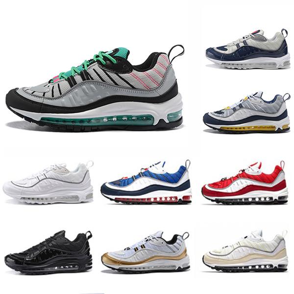 nike Air Max 98 airmax 98 shoes Yeni Varış İngiltere Erkekler kadınlar için GMT Koşu Ayakkabıları Gundam Tur Sarı-mavi Üçlü Siyah Güney Plaj Koşucular Chaussures spor snakers 36-45
