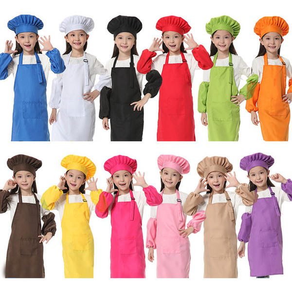 best selling Adorable Children Kitchen Waists 12 Colors Kids Aprons with Sleeve&Chef Hats for Painting Cooking Baking 30pcs