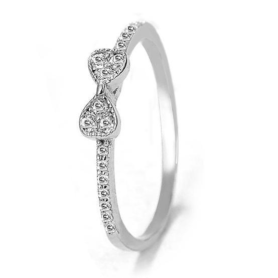 Auténtico anillo de plata esterlina 925 Joyería fina Pave Bowknot con anillo de cristal para mujeres Regalo de fiesta de boda Joyería fina