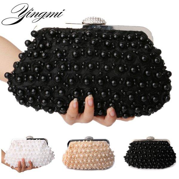 Yingi con cuentas rosa mujer bolsos de noche diamantes cadena pequeña bolsa de mensajero de cristal suave mini mujeres bolsos de noche # 89021