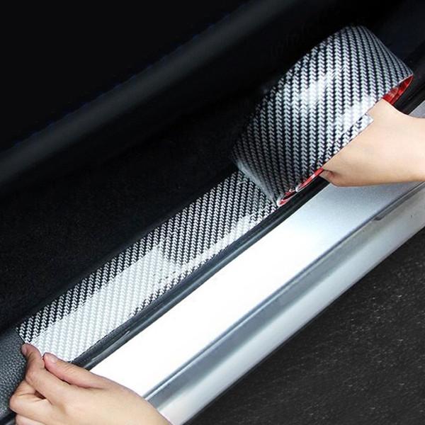 Nouvellement Autocollants voiture 5D en fibre de carbone en caoutchouc Styling porte Sill Protecteur marchandises pour KIA Toyota BMW Audi Mazda Ford Hyundai Accessoires (détail)