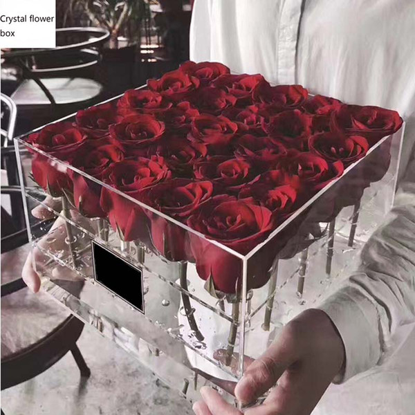 Acrylic Transparent Makeup Organizer Material Cosmetic Case Holder Rose Flower Box With Lid Makeup Organizer for Valentine's Day