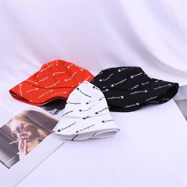 Tam Mektuplar Şampiyonlar Baskı Kova Şapka Balıkçı Şapka Seyahat Eğlence Kapaklar Rahat Kova Şapka Yaz Golf Açık Düz Geniş Visor Caps Sıcak C41106