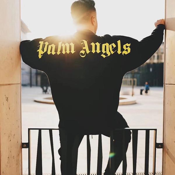 Erkek Kapüşonlular Gömlek Palmiye Melekler Gömlek Moda Mürettebat Boyun Mens 2019 Lüks Tasarımcı Giyim Uzun Kollu İnce Tişört S-XL