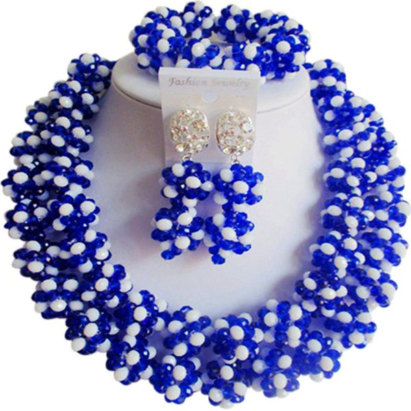 Pretty Kraliyet Mavi Opak Beyaz Kızlar için Afrika Abartma Kristal Parti Takı Setleri 2C-SJHQ-07