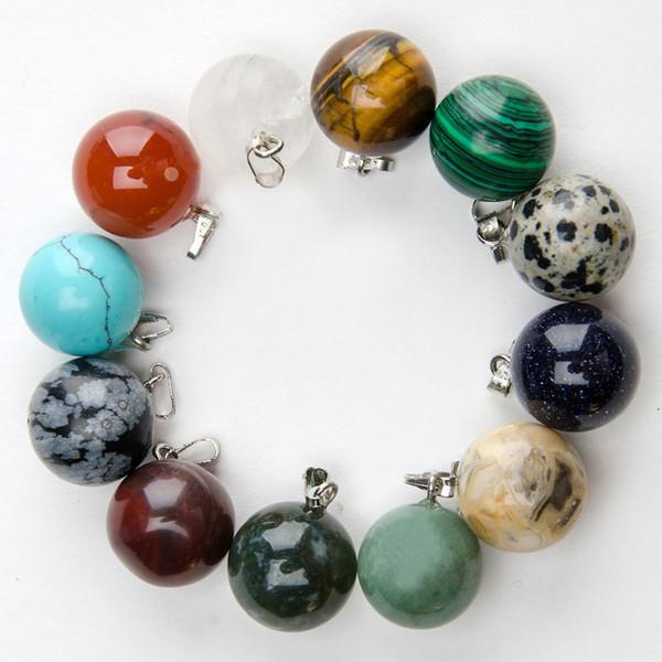 Bijoux de mode pendentifs en gros 50pcs pendentifs en pierre naturelle charme mixte pendentif boule ronde pour colliers fabrication de bijoux livraison gratuite