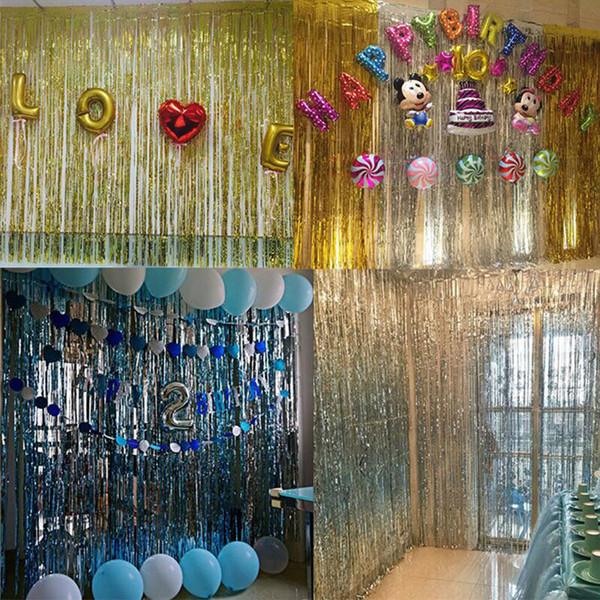1 * 2 mt Metallfolie Rand Shiny Regen Vorhang Geburtstagsfeier Hochzeitsdekoration Fotografie Hintergrund Linie Vorhang Foto Requisiten