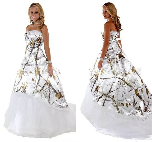 Vintage Country Camo Wedding Dresses 2019 Sweetheart Lace-up Corset Back Sweep Train Real Tree Camouflage Bohemian Bridal Wedding Gown